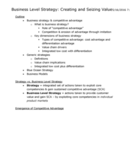 SGMA 591 Lecture Notes - Lecture 4: Resource-Based View, Competitive Advantage, Blue Ocean Strategy