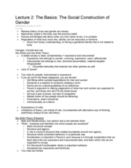 SOC345H5 Lecture Notes - Lecture 2: Ethnocentrism, Gender Role, Juvenile Delinquency