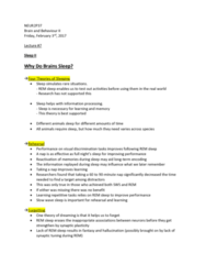 NEUR 2P37 Lecture Notes - Lecture 7: Slow-Wave Sleep, Narcolepsy, Hypersomnia