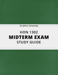 [HON 1302] - Midterm Exam Guide - Ultimate 26 pages long Study Guide!