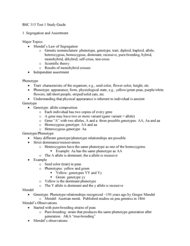 BSC 315 Midterm: BSC 315 Test 1 Study Guide - OneClass