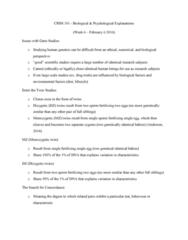 CRIM 101 Lecture 6: Crim 101 - Biological and Psychological Explainations Notes