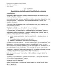S W 313 Study Guide - Quiz Guide: Antipositivism, Inductive Reasoning, Qualitative Inquiry
