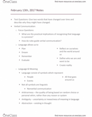COMM 110 Lecture Notes - Lecture 7: Loaded Language, Nonverbal Communication, Arbitrariness