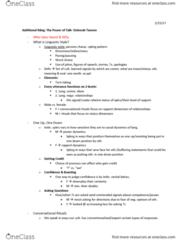CMST 472 Lecture Notes - Lecture 4: Deborah Tannen, Eval