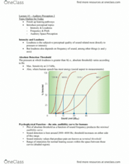PSY 3108 Lecture Notes - Lecture 10: Absolute Threshold, Psychometric Function, Monaural