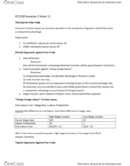 ECO100Y1 Lecture Notes - Lecture 11: Absolute Advantage, Comparative Advantage, Trade Barrier