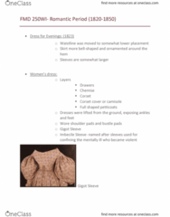FMD 250 Lecture Notes - Lecture 10: Camisole, Corset, Chemise