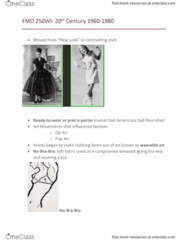FMD 250 Lecture Notes - Lecture 13: Pantyhose, Op Art, Nylon