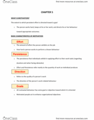 COMM 222 Chapter Notes - Chapter 5: Goal Setting, Motivation, Expectancy Theory