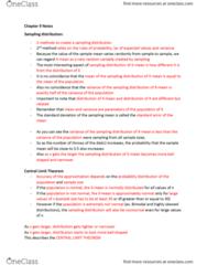MGMT 1050 Chapter Notes - Chapter 9: Central Limit Theorem, Sampling Distribution, Standard Deviation