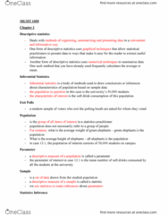 MGMT 1050 Study Guide - Midterm Guide: Statistical Inference, Statistic, Statistical Parameter