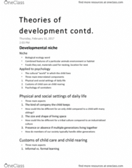 PSYC 151 Lecture 10: Theories of development contd