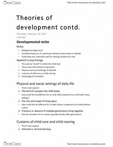 developmental niche
