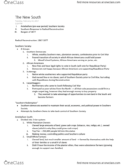 HIST206 Lecture Notes - Lecture 2: Military Tactics, History Of The Southern United States, Reconstruction Era