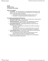 BU288 Chapter Notes - Chapter 2: Reinforcement, Trait Theory, Organizational Behavior