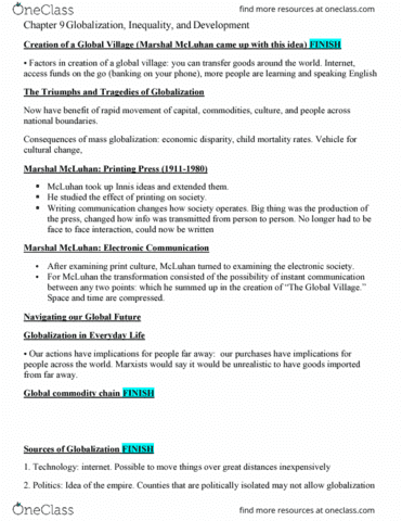 Sociology 1020 Lecture 9 Sociology Chapter 9 10 11 12 Oneclass