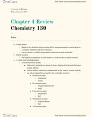 CHEM 130 Chapter Notes - Chapter 4: Antibonding Molecular Orbital, Trigonal Planar Molecular Geometry, Chemical Polarity