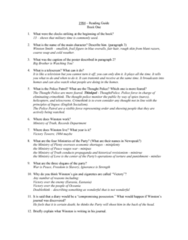 ENGL 1101 Lecture Notes - Lecture 1: Telescreen, Ministries Of Nineteen Eighty-Four, Howards Alias