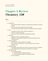 CHEM 130 Chapter 5: Chapter 5 Review