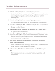 SOCY 122 Midterm: Sociology 122 Exam Review Questions