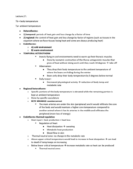 BIOL 3070 Lecture Notes - Lecture 27: Torpor, Rete Algorithm, Countercurrent Exchange