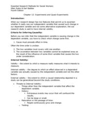 S W 313 Study Guide - Quiz Guide: Internal Validity, Pilot Experiment, Random Assignment