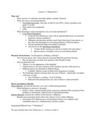 PSYC 3100 Lecture Notes - Lecture 13: Red Queen Hypothesis, Major Histocompatibility Complex, Ryan Gosling
