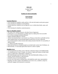 FSN 223 Lecture Notes - Lecture 9: Disability Art, Disability Studies, Ableism
