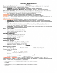 STAT 2507 Study Guide - Midterm Guide: Statistical Parameter, Null Hypothesis, Type I And Type Ii Errors