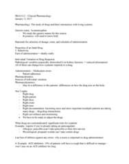 PHA 3112 Lecture Notes - Lecture 1: Nifedipine, Anaphylaxis, Hyperglycemia