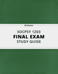 [SOCPSY 1Z03] - Final Exam Guide - Comprehensive Notes fot the exam (40 pages long!)