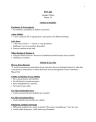 FSN 223 Lecture Notes - Lecture 10: Kelly Knox, Prosthesis, Billboard Charts