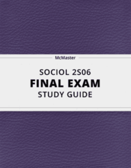 [SOCIOL 2S06] - Final Exam Guide - Ultimate 98 pages long Study Guide!