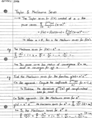 ARTSSCI 1D06 Lecture 78: Note 78 - Taylor & Maclaurin Series - Examples