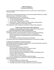 GEB 3375 Chapter Notes - Chapter 13: Country Risk, Global Sourcing