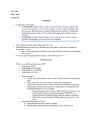 CCT206H5 Lecture Notes - Lecture 5: Lanham Act, Certification Mark, Sports Equipment