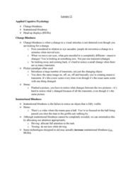 PSYC 2700 Lecture Notes - Lecture 12: Knowledge Representation And Reasoning, Canada Goose, Inattentional Blindness
