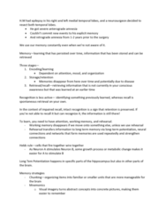 PSYC-251 Lecture Notes - Lecture 7: Long-Term Memory, Intrusive Thought, Encephalitis