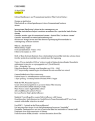 CULS30002 Lecture Notes - Lecture 7: Jia Zhangke, Buddhist Philosophy, Chungking Express