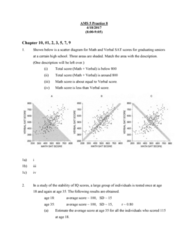 AMS 5 Chapter Notes - Chapter 10-11: Percentile Rank, Scatter Plot