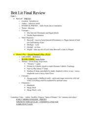 ENG 2304 Final: BritLit Final Review
