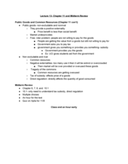 ECON 20A Lecture 13: Chapter 11 and Midterm Review