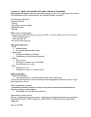 PSYC 2740 Lecture Notes - Lecture 20: Experiential Avoidance, Stressor, Impulsivity