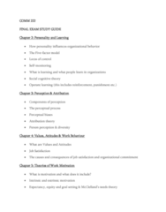 COMM 222 Study Guide - Final Guide: Motivation, Job Satisfaction, Organizational Commitment