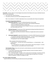 HROB 2090 Chapter Notes - Chapter 2: Conscientiousness, Extraversion And Introversion, Organizational Commitment