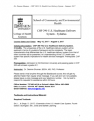 CHP 200 Lecture Notes - Lecture 1: Health Administration, Paper Organization, Academic Dishonesty