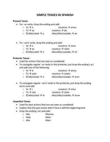 Spa 213 Quiz Spanish Simple Tenses Presentsubjunctivepreterite