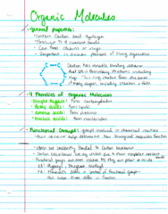 BIOL 204H Lecture 10: Organic Molecules