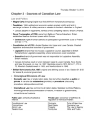 POLS 2350 Chapter Notes - Chapter 2: Ratio Decidendi, Parliamentary Sovereignty, Quebec Act